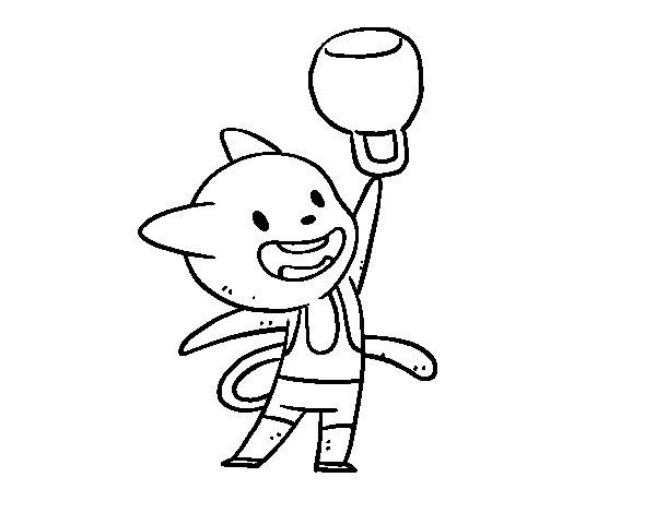 Dibujo de Gato practicando halterofilia para Colorear