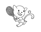 Dibujo de Gato tenista para colorear