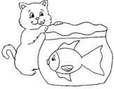 Dibujo de Gato y pez para colorear
