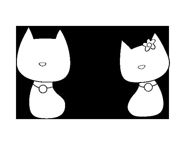 Dibujo de Gatos enamorados para Colorear  Dibujosnet