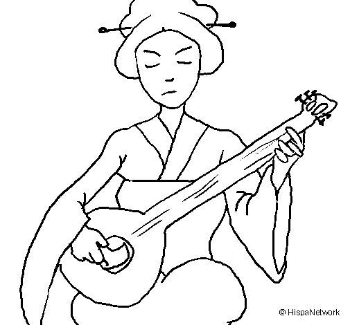 Dibujo de Geisha tocando el laud para Colorear