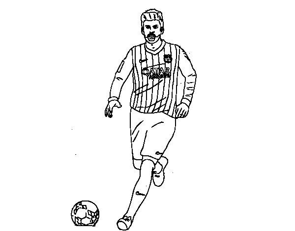 Dibujo de Gerard Piqué en el campo para Colorear