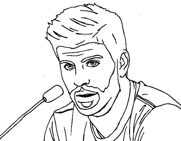Dibujo de Gerard Piqué en rueda de prensa para Colorear