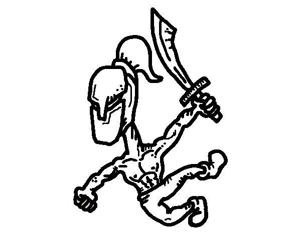 Dibujo de Gladiador fuerte para Colorear