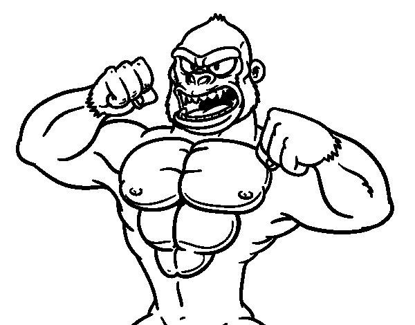 Dibujo de Gorila fuerte para Colorear