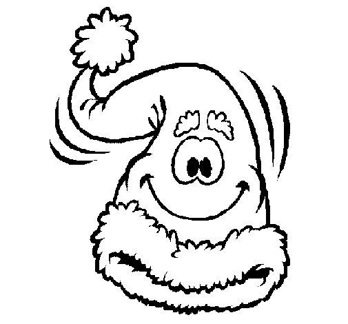 Dibujo de Gorro de Papa Noel para Colorear
