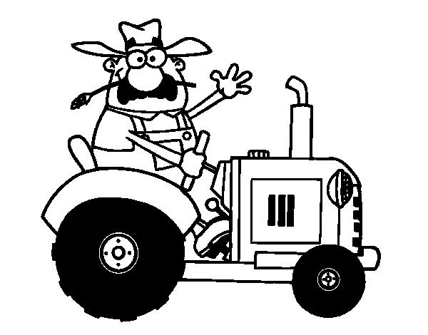 Dibujo De Granjero En Su Tractor Para Colorear