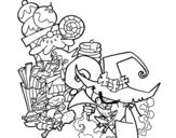 Dibujo de Gretel y la bruja para colorear