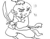 Dibujo de Guerrero con espada para colorear