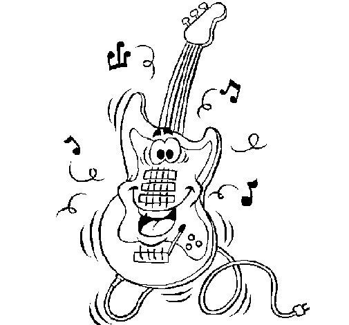 Dibujo de Guitarra eléctrica para Colorear