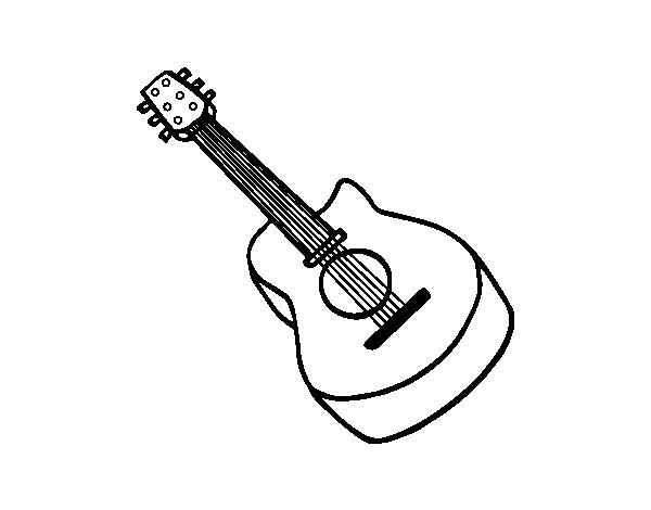 Dibujo de Guitarra flamenca para Colorear