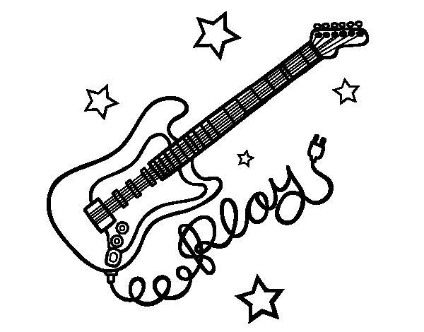 Dibujo de Guitarra y estrellas para Colorear  Dibujosnet