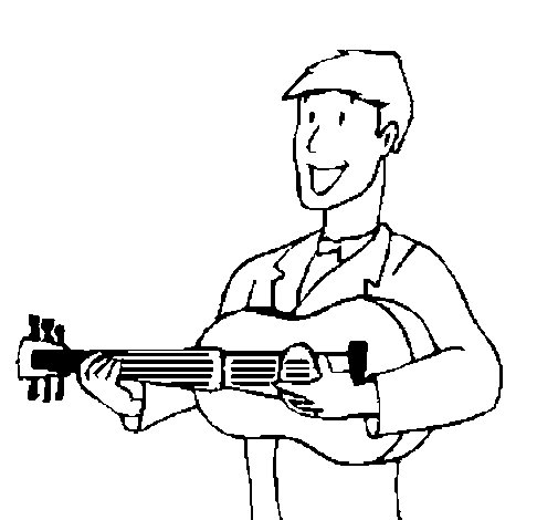 Dibujo de Guitarrista clásico para Colorear