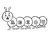 Dibujo de Gusano con vocales