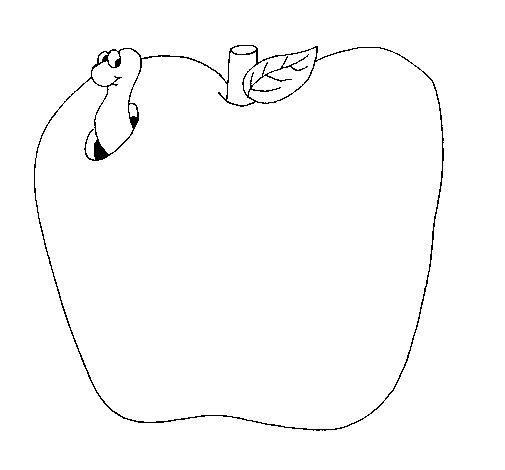 Dibujo de Gusano en la fruta para Colorear  Dibujosnet