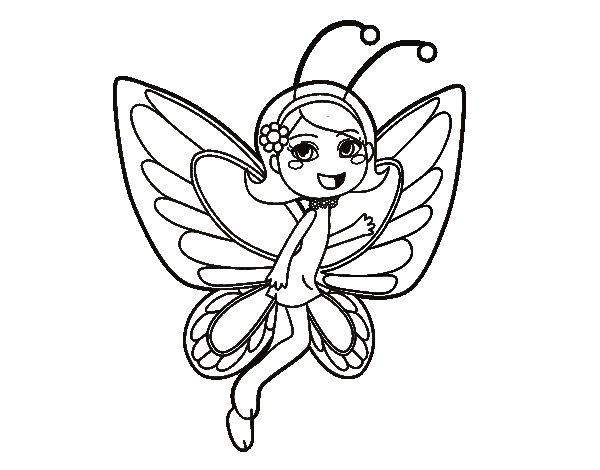 Dibujo de Hada mariposa contenta para Colorear  Dibujosnet