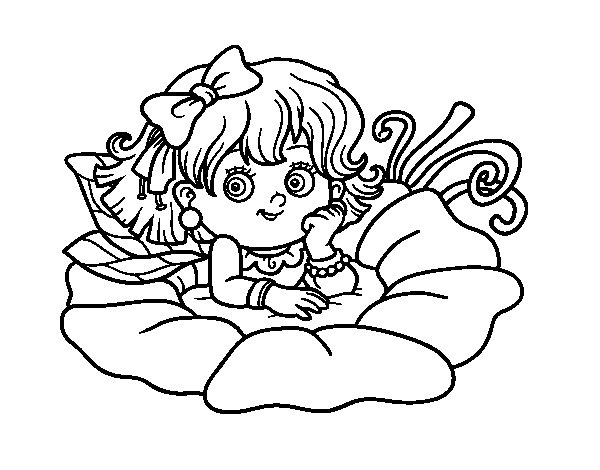 Dibujo de Hada sobre una flor para Colorear