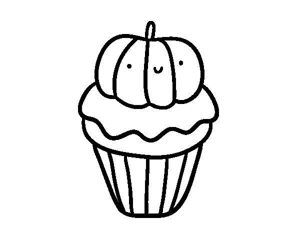 Dibujo de Halloween cupcake para Colorear