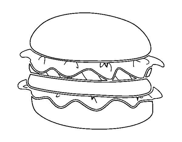 Dibujo de Hamburguesa con lechuga para Colorear