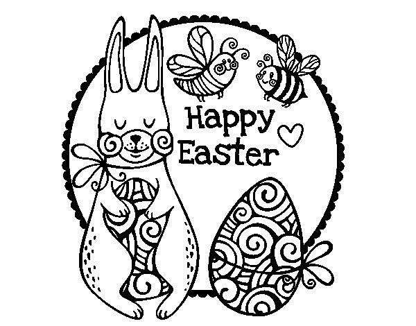 Dibujo de Happy Easter para Colorear