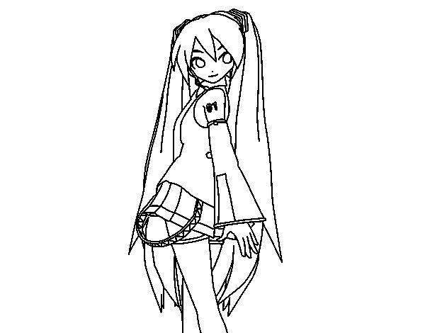 Dibujo de Hatsune Miku vocaloid para Colorear
