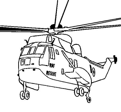 Dibujo de Helicóptero al rescate para Colorear