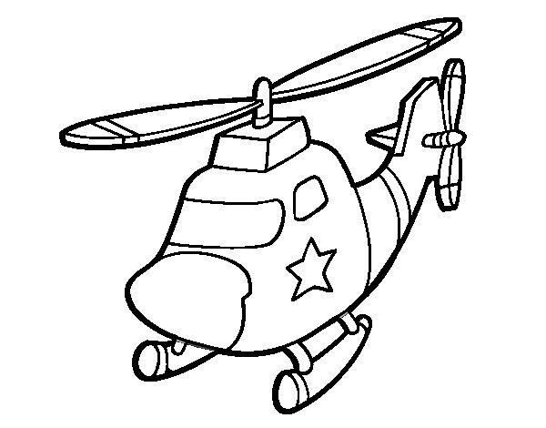 Dibujo de Helicóptero con una estrella para Colorear