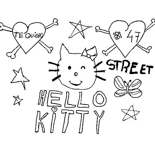 Dibujo de Hello Kitty para Colorear