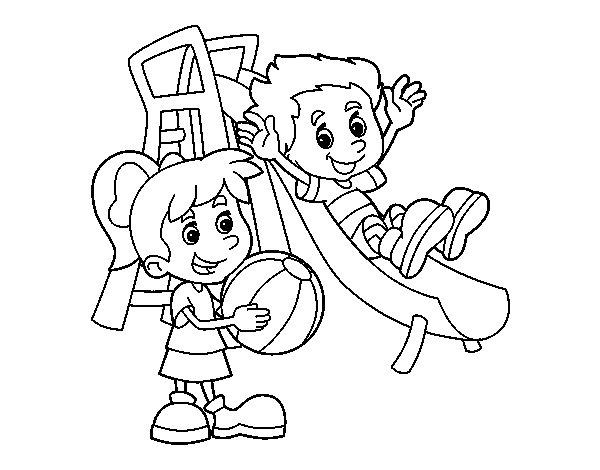Dibujo de Hermanos en el parque para Colorear