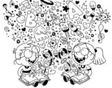 Dibujo de Hermanos lectores para colorear