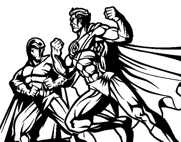 Dibujo de Héroe y villano luchando para Colorear