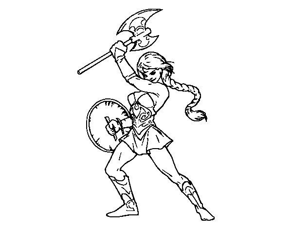 Dibujo de Heroína vikinga para Colorear