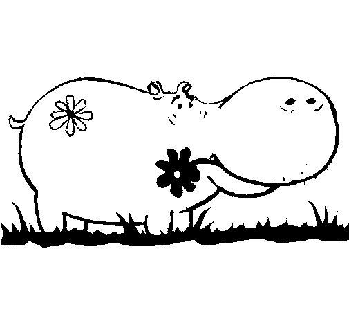 Dibujo de Hipopótamo con flores para Colorear