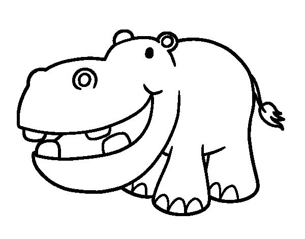 Dibujo de Hipoptamo pequeo para Colorear  Dibujosnet
