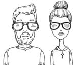 Dibujo de Hipsters para colorear
