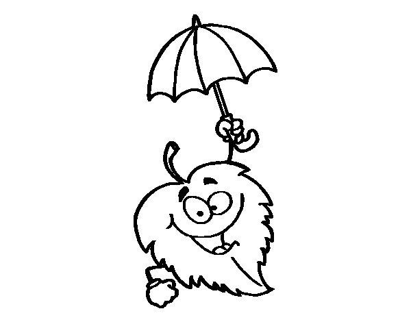 Dibujo de Hoja con paraguas para Colorear