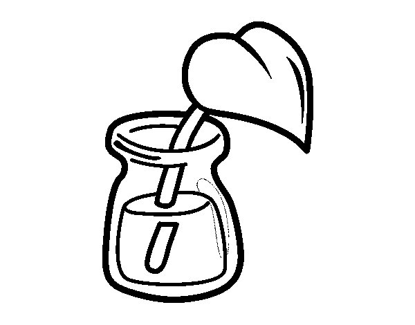 Dibujo Para Colorear Hoja: Dibujo De Hoja En Un Vaso Para Colorear