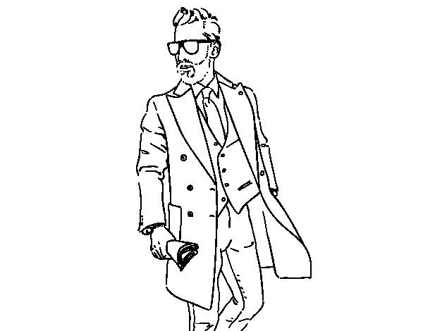Dibujo De Hombre Con Traje Para Colorear