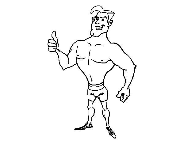 Dibujo de Hombre en bañador para Colorear