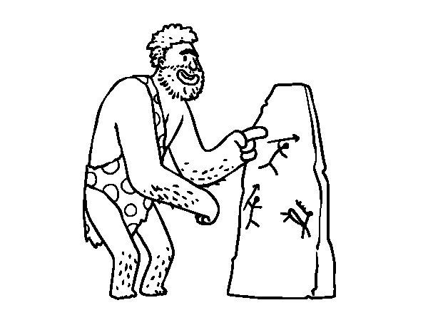 Dibujos De Prehistoria Para Ninos Para Colorear: Dibujo De Hombre Prehistórico Con Pinturas Rupestres Para