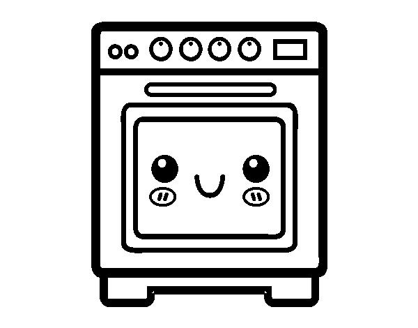 Dibujo de horno para colorear for Cocina dibujo
