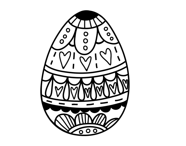 Dibujo de huevo de pascua con corazones para colorear for Como pintar huevos de pascua