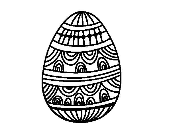 Dibujo de Huevo de Pascua estampado con ondas para Colorear