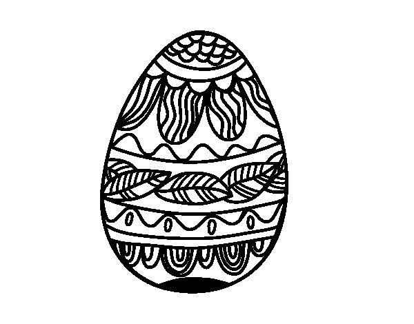 Dibujo de Huevo de Pascua estampado vegetal para Colorear
