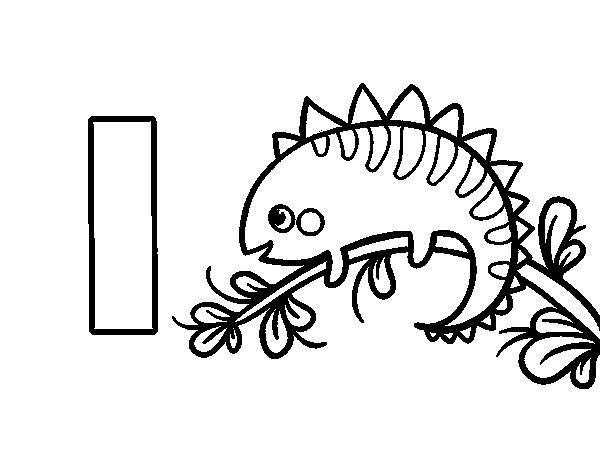 Dibujos De Letras A Color: Dibujo De I De Iguana Para Colorear