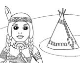 Dibujo de India y tepee para colorear