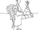 Dibujo de Indio jefe para colorear