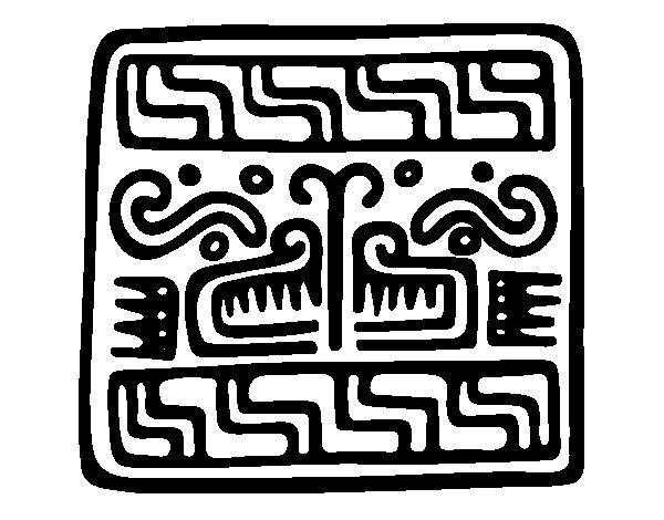 Dibujo de Inscripción maya para Colorear