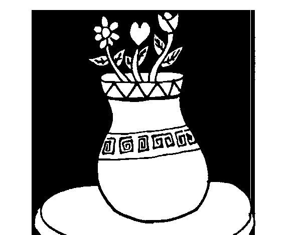 Dibujo de Jarrón con flores para Colorear