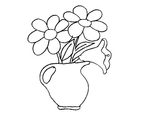 Dibujo de Jarrón con margaritas para Colorear